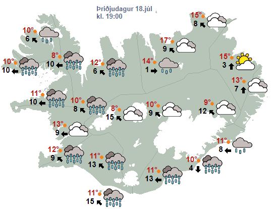 Rigning verður nánast um allt land á morgun klukkan 19.