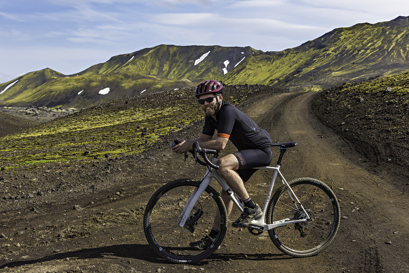 Framgaffallinn á hjólinu er nokkuð ólíkur öðrum göfflum á markaðinum.