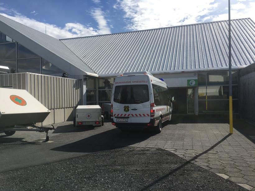 Fjöldahjálparmiðstöðin í Hveragerði.