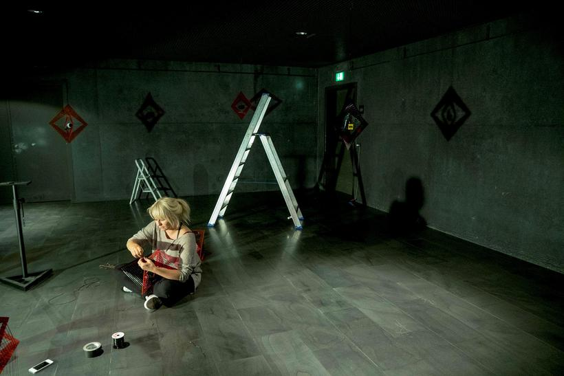 Ingibjörg, putting together the sculptures before the installation opened.