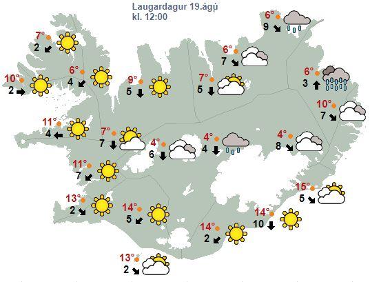 Svona verður veðrið kl. 12 á hádegi í dag.