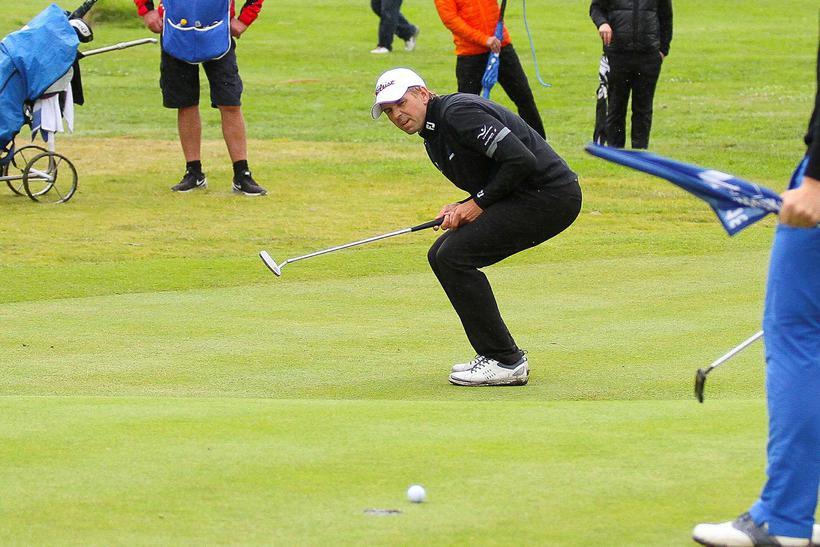 Birgir Leifur Hafþórsson lék gott golf í dag.