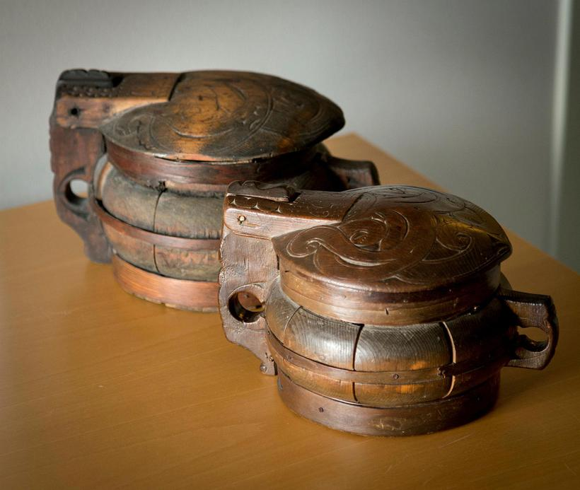 "Two ""askur"" containers. This wooden container was used as a ..."