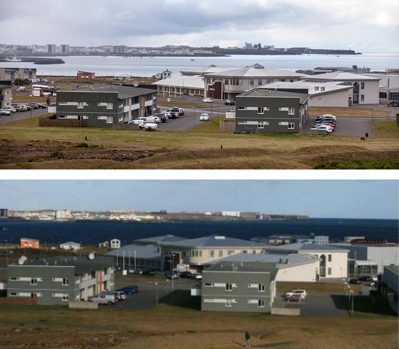Verksmiðjan séð frá Innri-Njarðvík. Á eftir myndinni má sjá verksmiðjuna ...