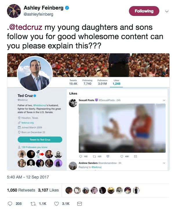 Færslan sem birtist á aðgangi Ted Cruz, öldungardeildarþingmanns Texas, er ...