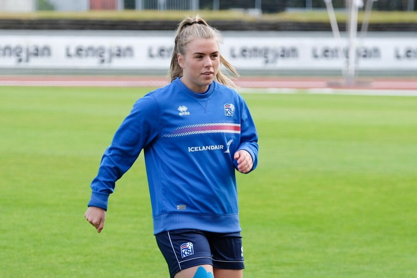 Ingibjörg Sigurðardóttir á æfingunni í dag.