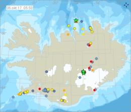 Earthquakes detected in both Grímsey and Bárðarbunga last night