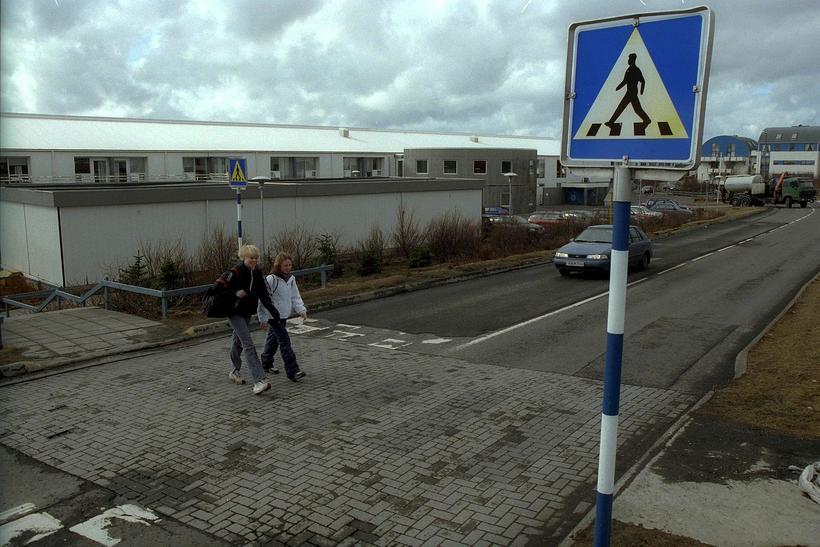 Krakkar á gangi skammt frá Setbergsskóla í Hafnarfirði.