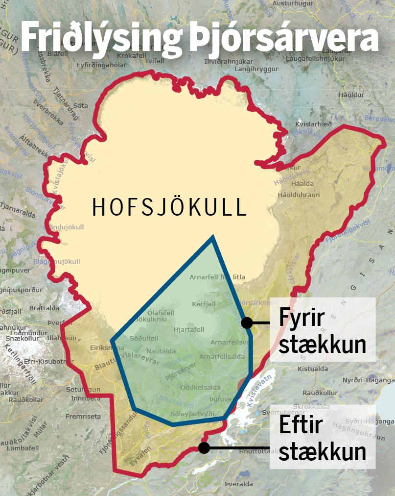 Hér má sjá hvernig friðlandið stækkar.