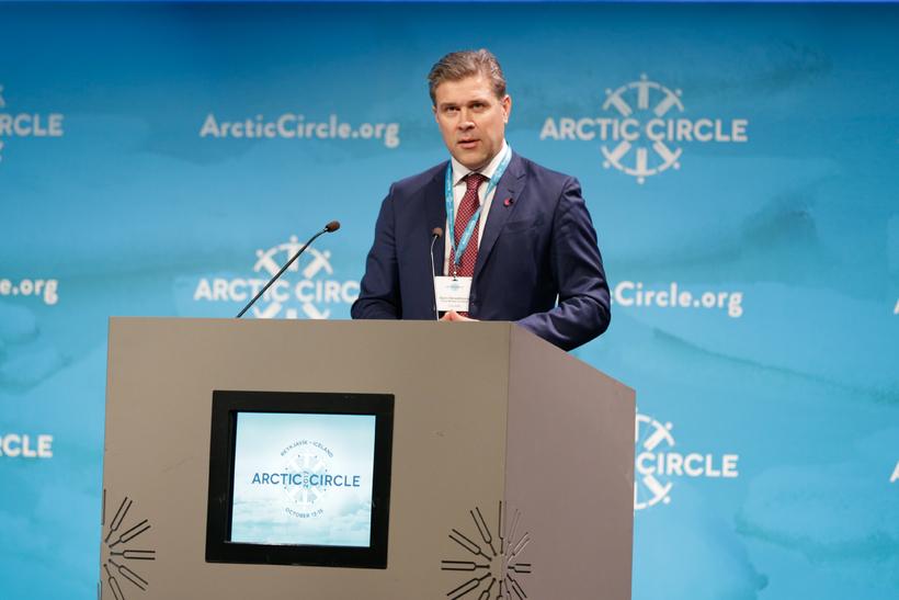 Bjarni Benediktsson, forsætisráðherra, á Arctic Circle ráðstefnunni í Hörpu.