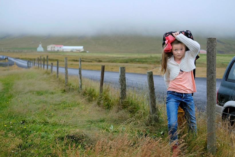 Jóhanna Engilráð Hrafnsdóttir styttir sér leið yfir girðinguna við Finnbogastaðaskóla ...