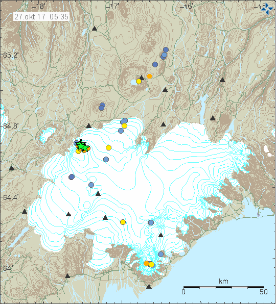 Series of large earthquakes hit Bárðarbunga last night.