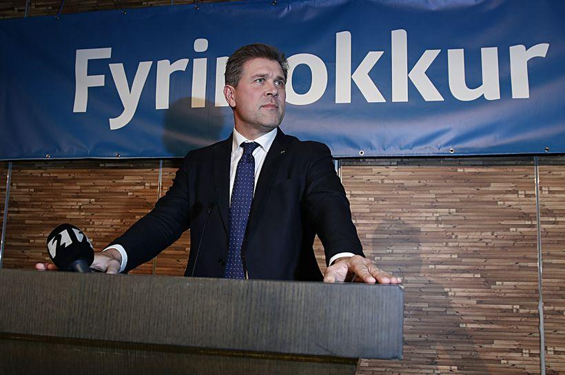 Bjarni Benediktsson á kosningavöku Sjálfstæðisflokksins um helgina.
