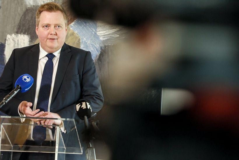 Sigmundur Davíð Gunnlaugsson á Bessastöðum. Hann skaut aftur á Framsóknarflokkinn.