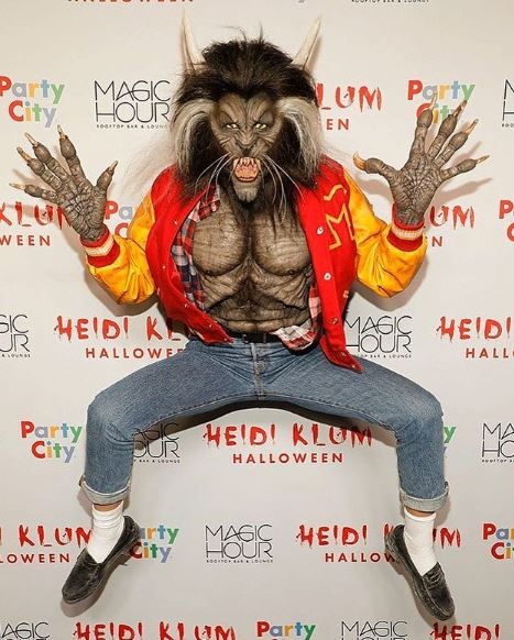 Heidi Klum var óþekkjanleg sem varúlfurinn úr Thriller-myndbandinu árið 2017.