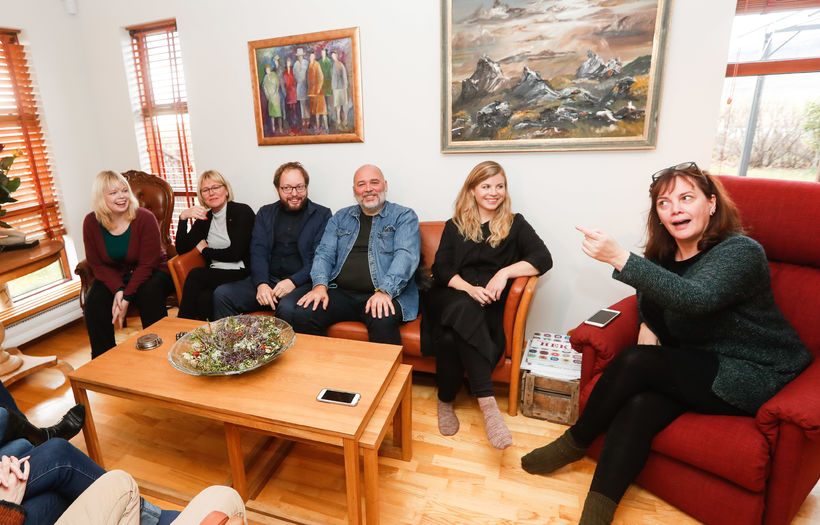 Fundarmenn á heimili Sigurðar Inga Jóhannssonar.