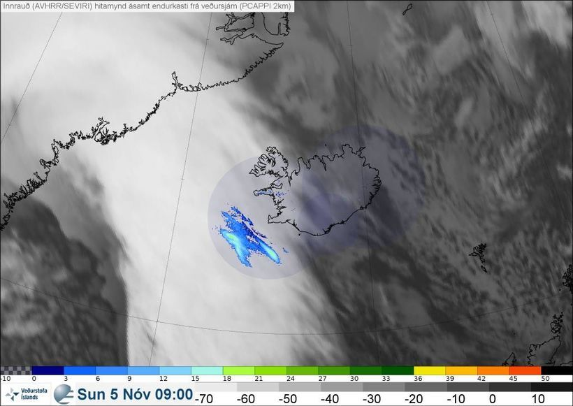 The deep low approaching west Iceland early on Sunday.
