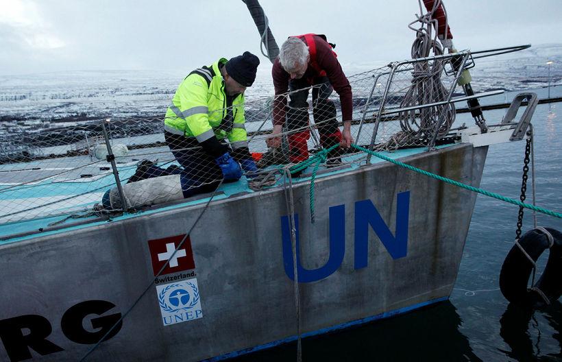 Schwoerer with a worker from Akureyri Port.