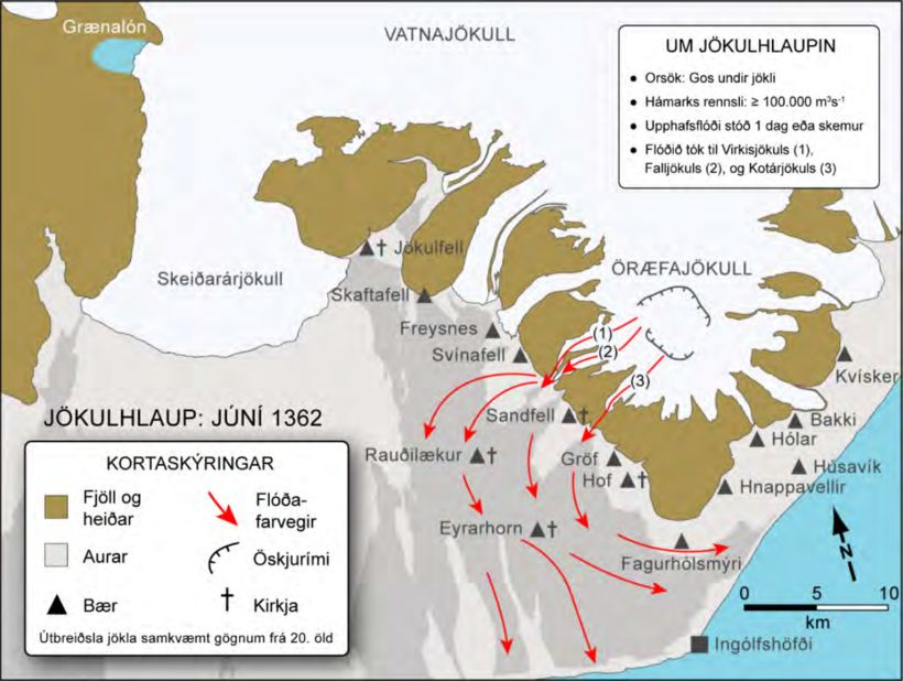 Útbreiðsla og helstu farvegir jökulhlaupsins árið 1362, samkvæmt niðurstöðum Sigurðar …