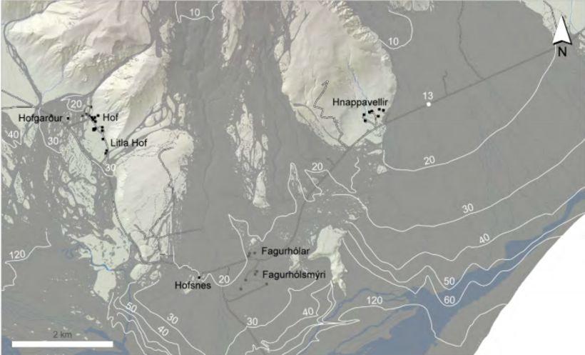 Reiknaður lágmarkstími (í mínútum) þar til hlaup vegna gjóskuflóðs í …