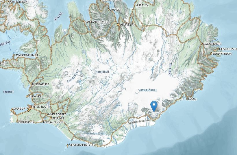 A map showing where Öræfajökull is situated.