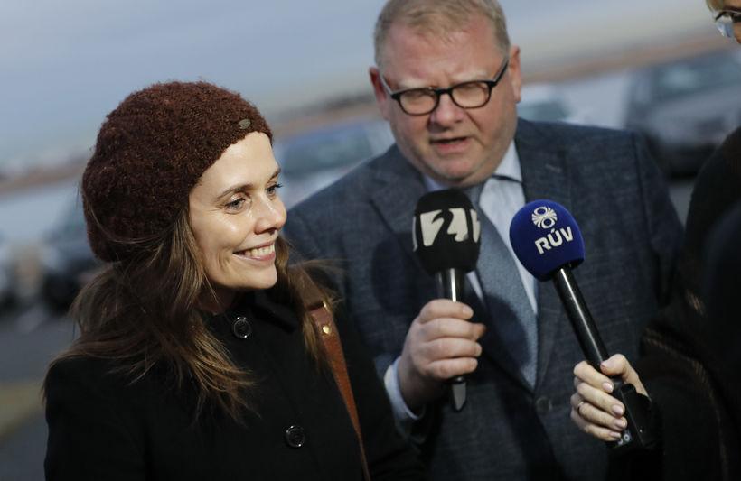 Katrín Jakobsdóttir, formaður VG, á Bessastöðum í dag.