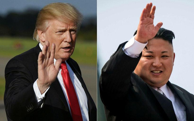 Samsett mynd af Donald Trump Bandaríkjaforseta og Kim Jong-Un, leiðtoga ...