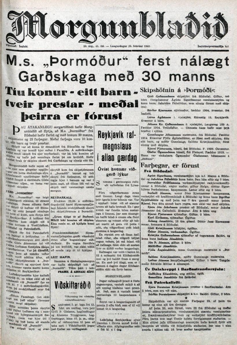 Forsíða Morgunblaðsins 20. febrúar 1943.