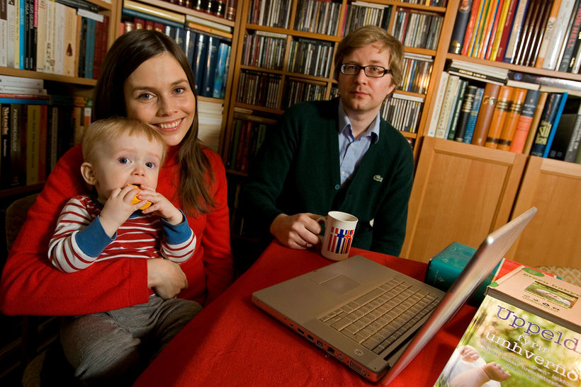 Katrín Jakobsdóttir and Gunnar Sigvaldason with one of their sons. …