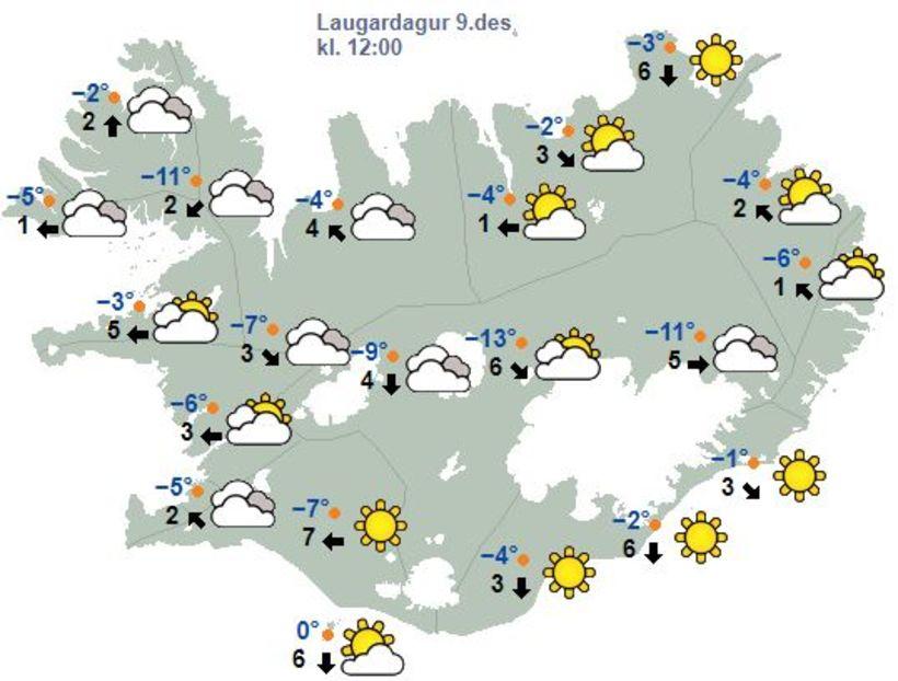 Svona verður veðrið á hádegi í dag, laugardag.
