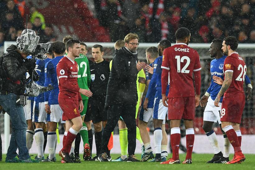 Jürgen Klopp, knattspyrnustjóri Liverpool, var ekki sáttur í leikslok eftir ...