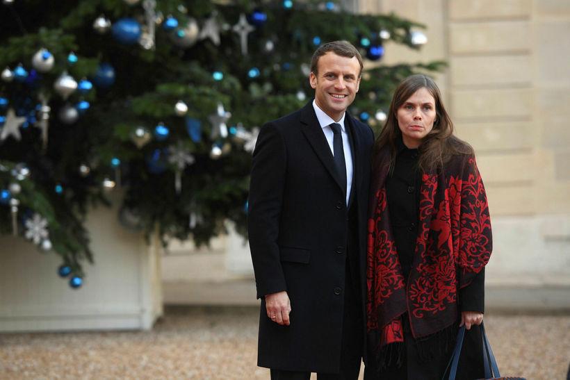 Emmanuel Macron, Frakklandsforseti, og Katrín Jakobsdottir í París í desember …