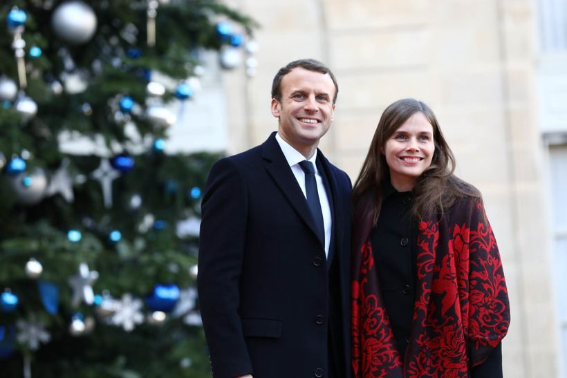 Emmanuel Macron, President of France, with Icelandic Prime Minister Katrín ...