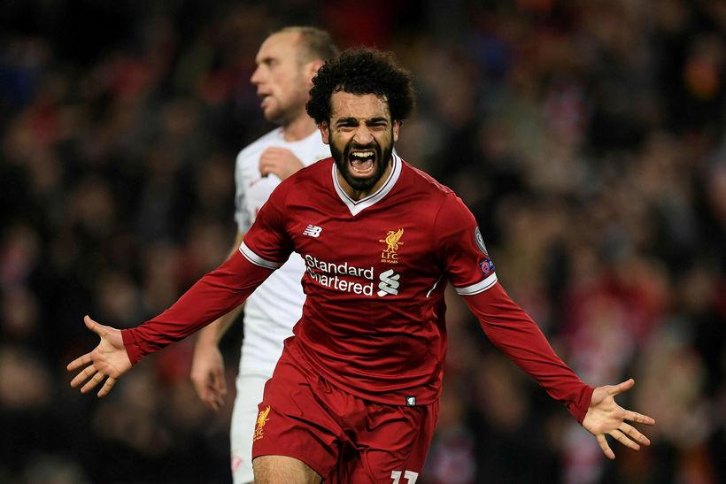 Mohamed Salah fagnar einu af mörkum sínum á tímabilinu.