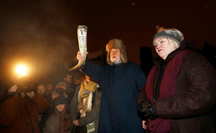 Hilmar Örn Hilmarsson carrying a drinking horn at the Winter ...