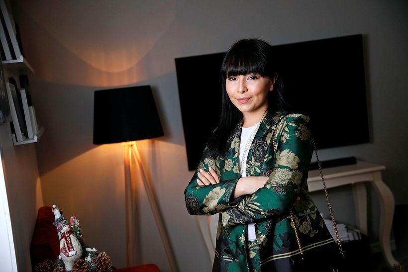 Anna S. Bergmann í grænum munstruðum jakka.