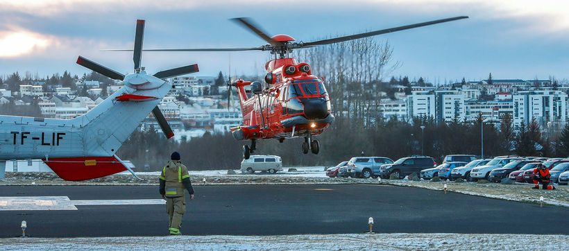 Twelve people were transported to hospital in two helicopters.