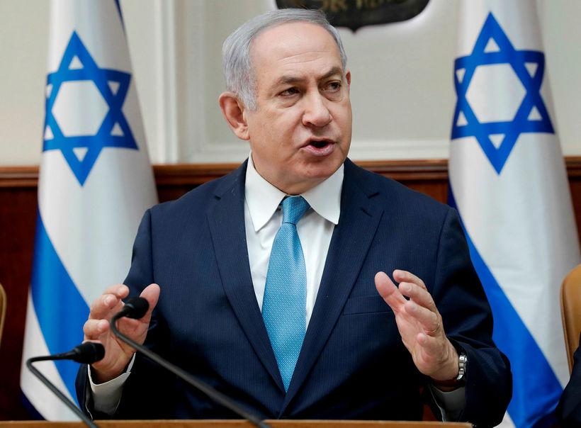 Benjamín Netanyahu, forsætisráðherra Ísraels, á fundinum í Jerúsalem í dag ...