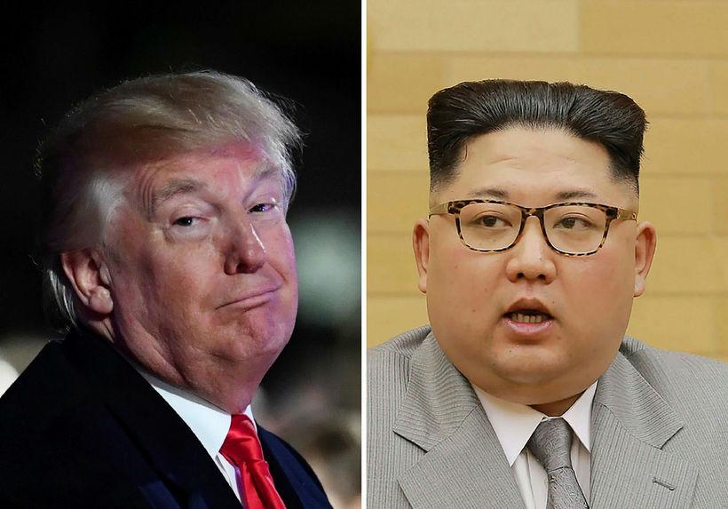 Donald Trump Bandaríkjaforseti og Kim Jong-un, leiðtogi Norður-Kóreu á samsettri ...