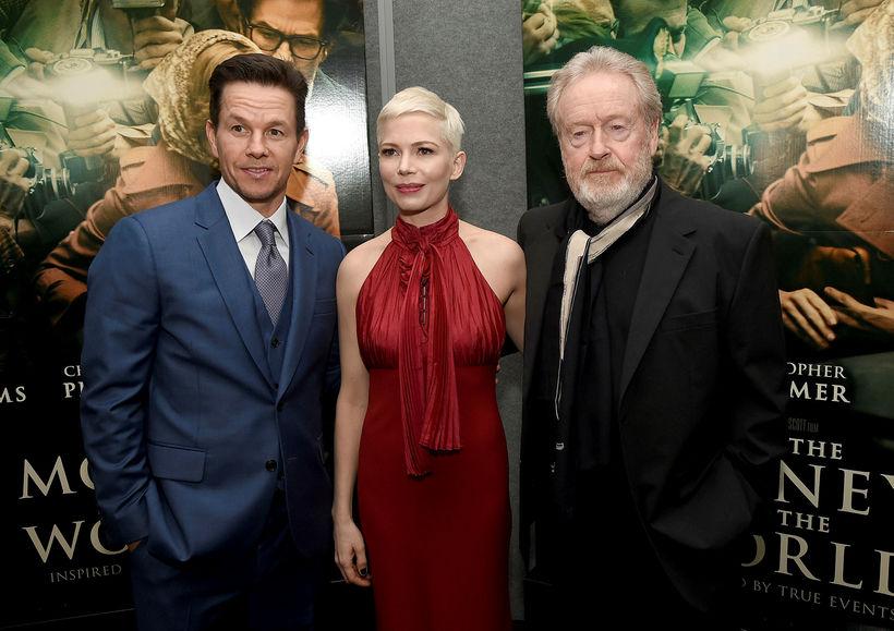 Mark Wahlberg, Michelle Williams og Ridley Scott, leikstjóri myndarinnar.
