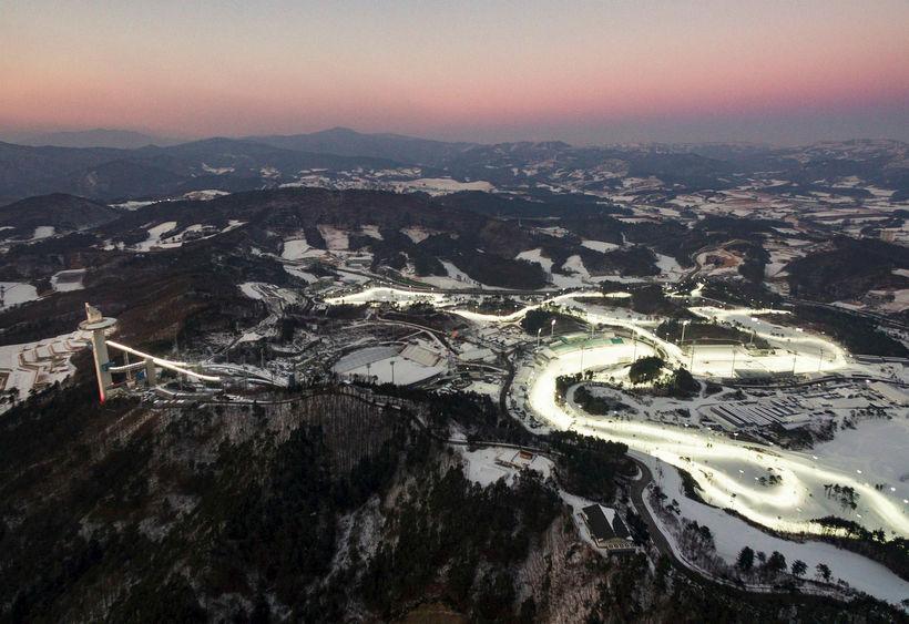Horft yfir hluta af keppnissvæðinu í Pyeongchang.