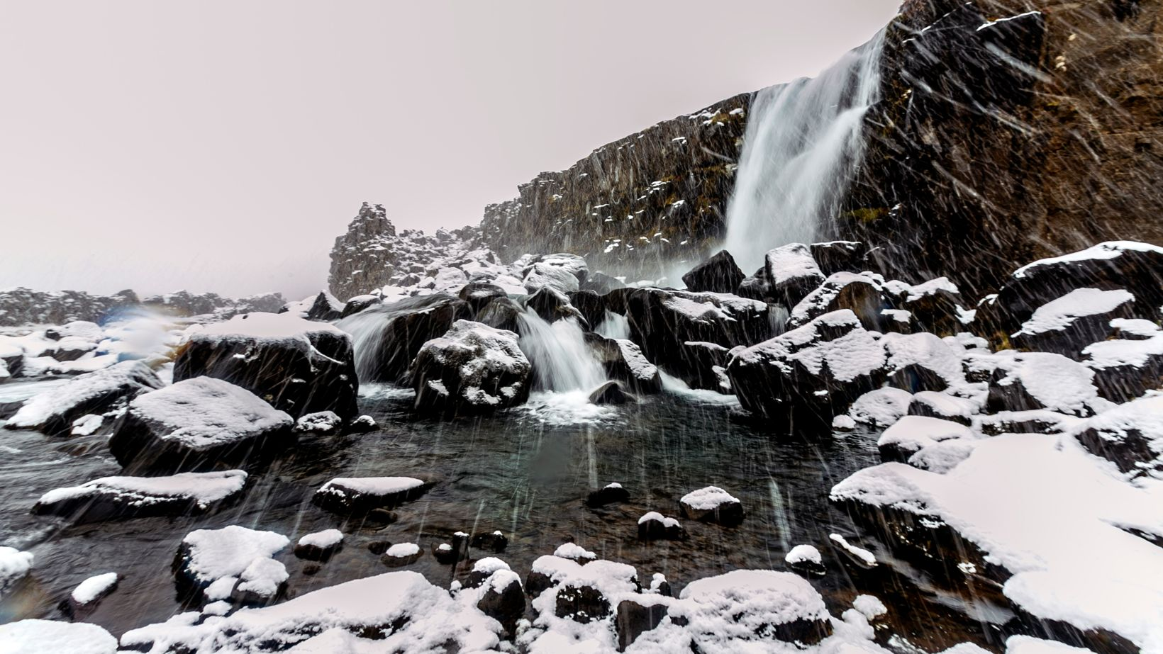 Cold-hearted weather gods throwing down sleet in Þingvellir National Park.