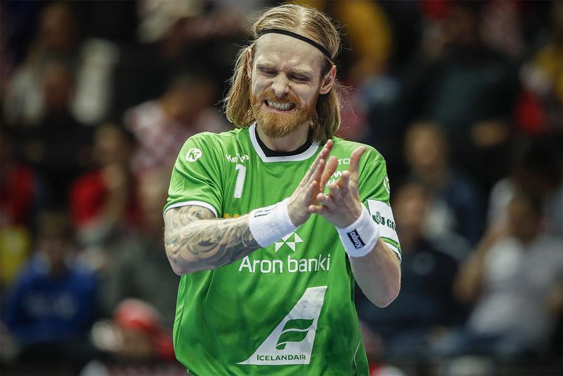 Björgvin Páll Gústavsson einbeittur í leiknum í kvöld.