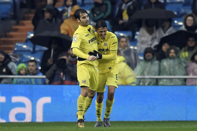 Pablo Fornals fagnar sigurmarki sínu fyrir Villareal gegn Real Madrid ...