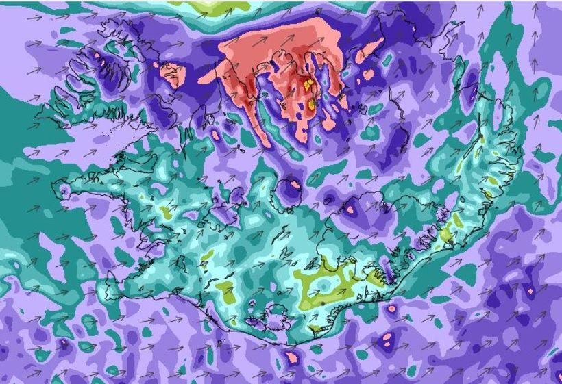 Vindaspá Veðurstofunnar til hádegis í dag.