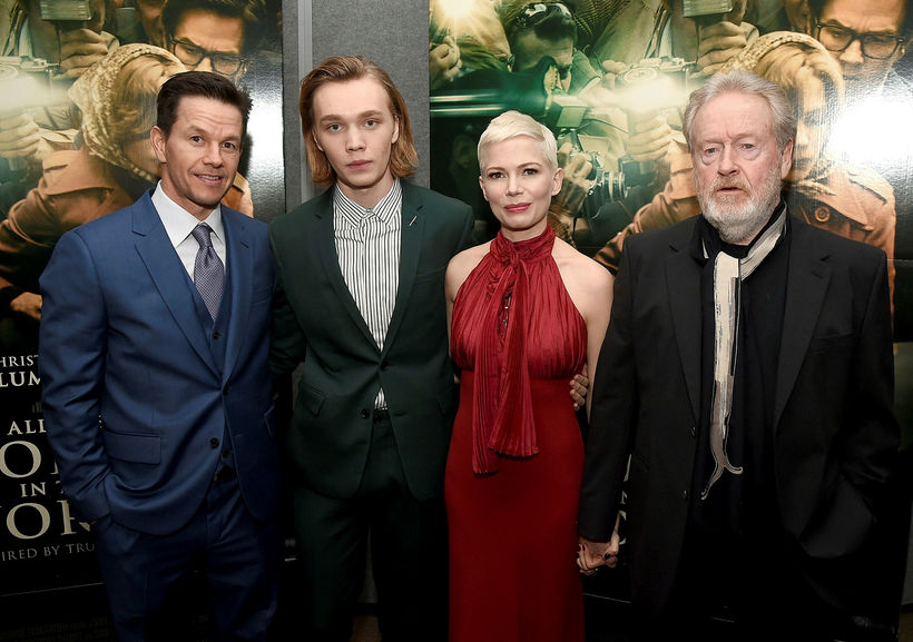 Mark Wahlberg, Charlie Plummer, Michelle Williams og Ridley Scott við ...