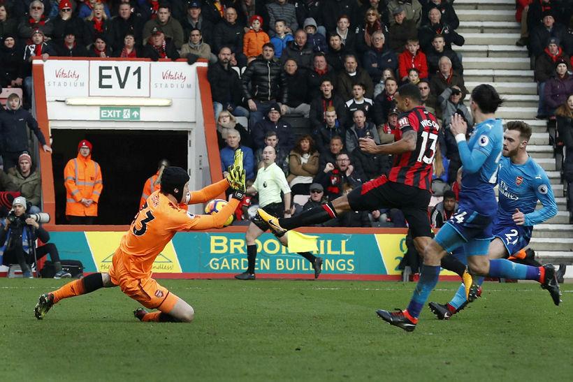 Callum Wilson skorar fyrir Bournemouth í dag.