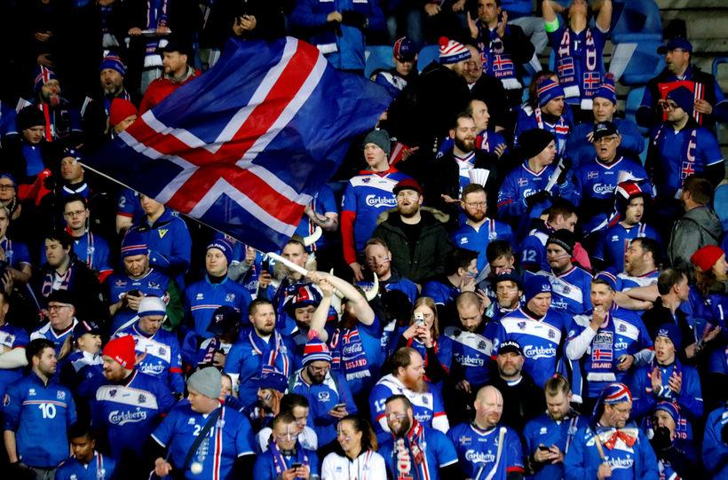 Frá leik Íslands og Kósóvó í undankeppninni.