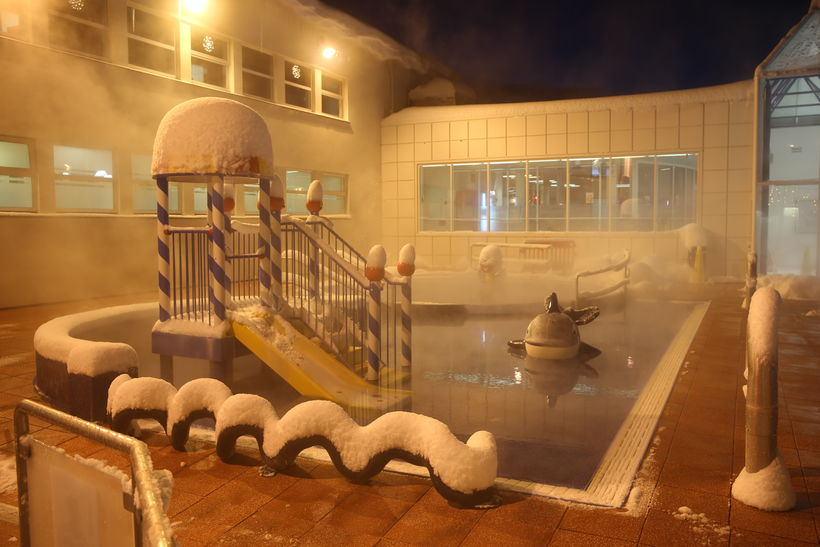 Akureyri swimming pool with a dusting of snow.