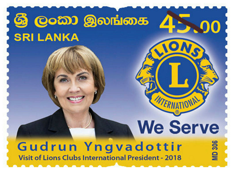 Lionsforsetinn á frímerki í Sri Lanka sem var að koma ...